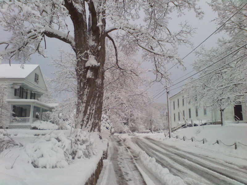 Snow-covered New England Village