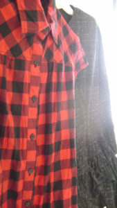 Plaid dress, froofy goth dress.