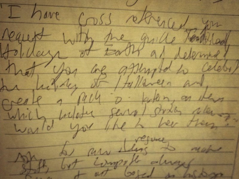 "messy, handwritten draft of ""A Cold Glow"""