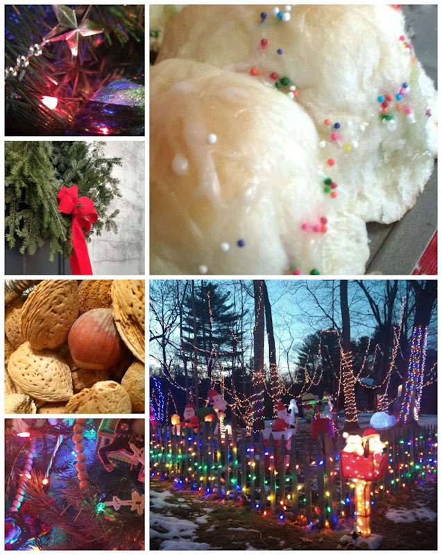 Holiday collage of Christmas lights, mixed nuts, and rolls with colored sprinkles.