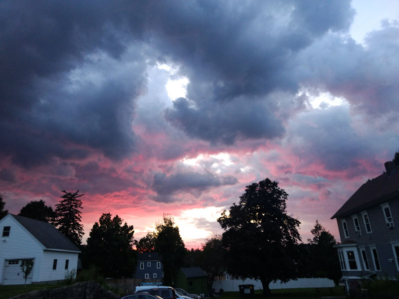 sunset with stormclouds and pink light