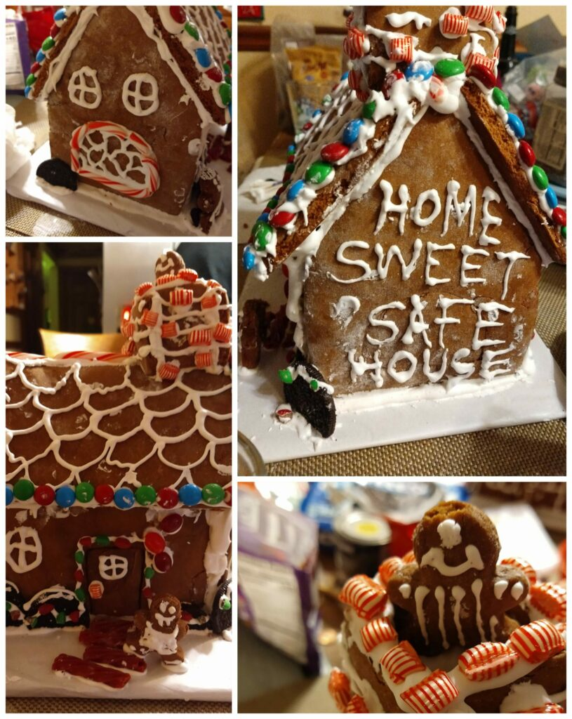 a collage of a gingerbread house